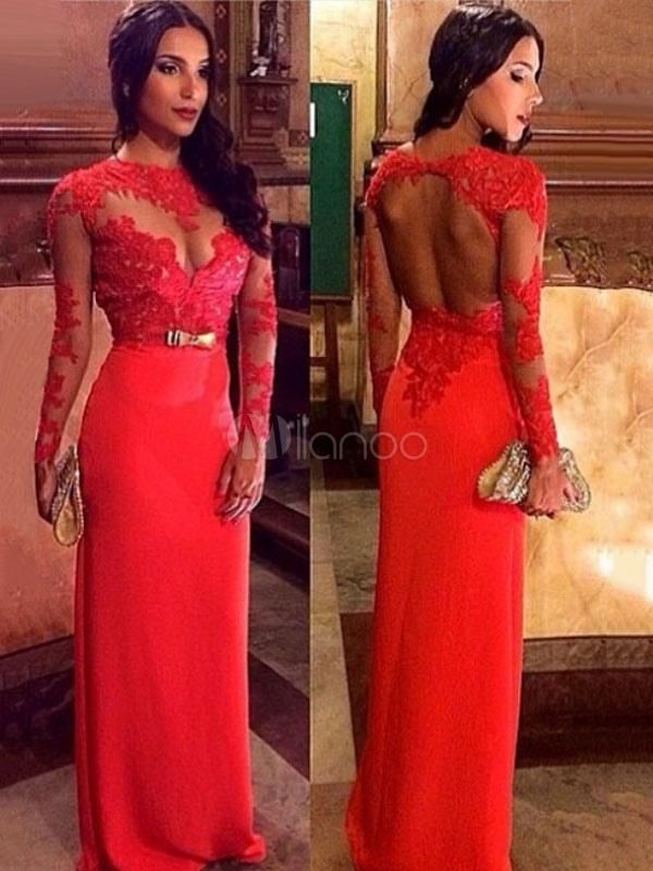 9daf821b0 Vestido largo rojo con escote redondo adornado con encaje con lazo con  manga larga sexy- ...