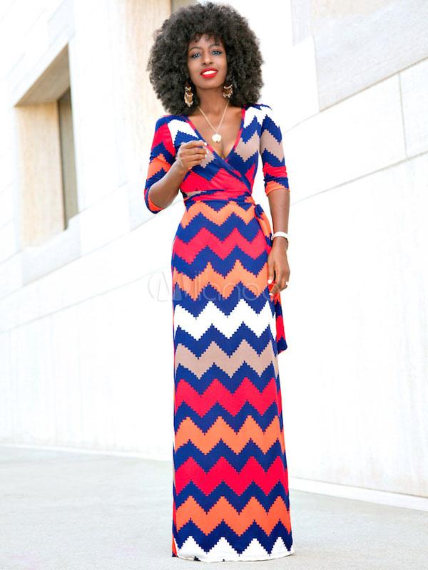 726bd4129d6 Fuchsia Maxi Dress V Neck Half Sleeve Wavy Striped Women s Long ...