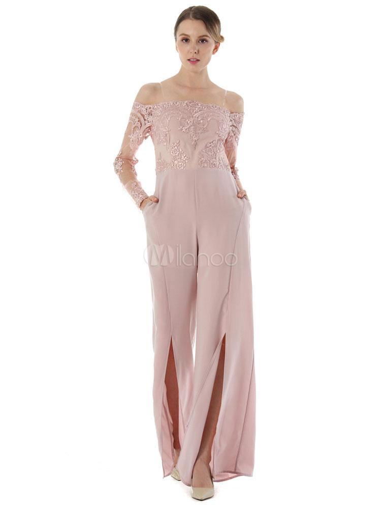 Pink Long Jumpsuit Lace Off The Shoulder Long Sleeve Chiffon Wide Leg Split Jumpsuit For Women