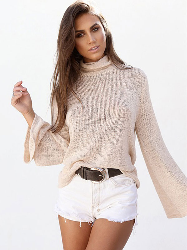Khaki Pullover Sweater High Collar Long Sleeve Lace Up Backless Women's Knit Wear