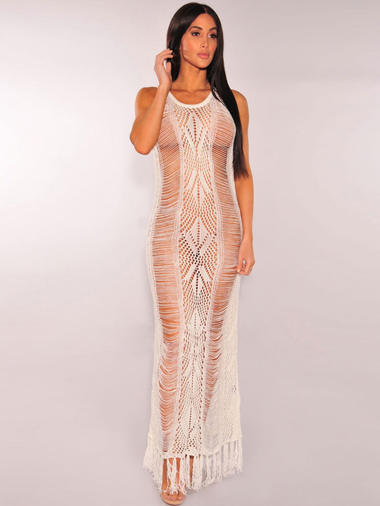 ad861b8644b White Club Dress Round Neck Sleeveless Semi Sheer Fringe Cut Out Women's Long  Dresses- ...