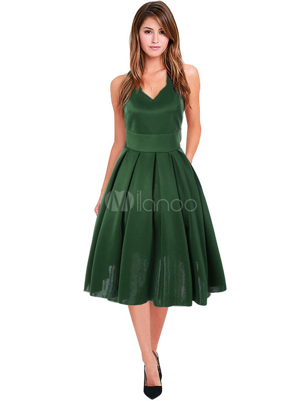 Green Vintage Dress V Neck Sleeveless Pleated Dresses For Women