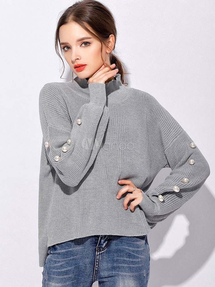 Grey Pullover Sweater High Collar Long Sleeve Pearls Women's Casual Sweater Cheap clothes, free shipping worldwide