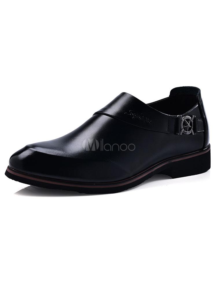 Zapatos de vestir de tacón gordo de puntera puntiaguada de PU Color liso Detalles metálicos estilo modernopara hombre Verano LT4NtY92