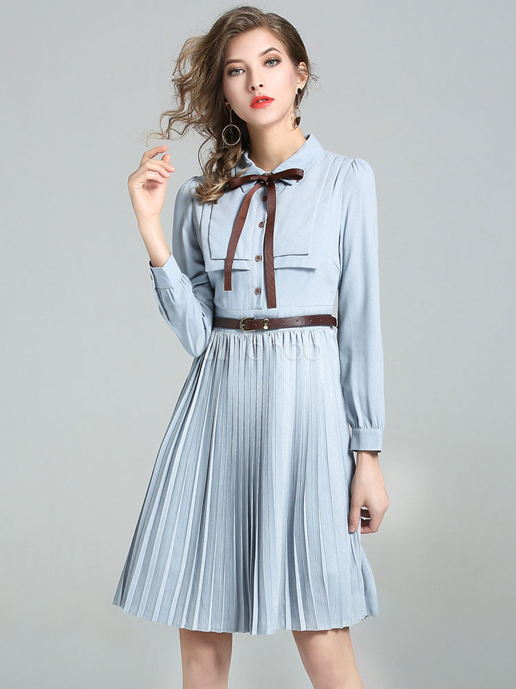 Buy Women's Skater Dress Illusion Blue Turndown Collar Long Sleeve Bows Pleated Dresses for $41.39 in Milanoo store