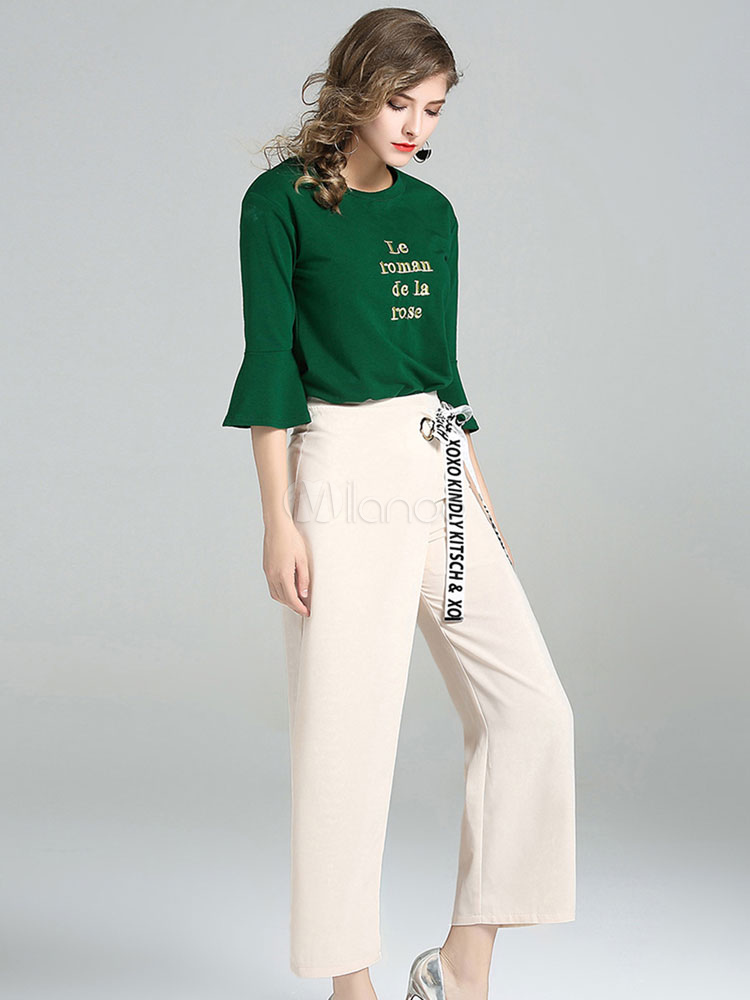 Buy Women's Pants Set Green Round Neck Bell Sleeve Letters Print Top With Long Pants for $42.74 in Milanoo store