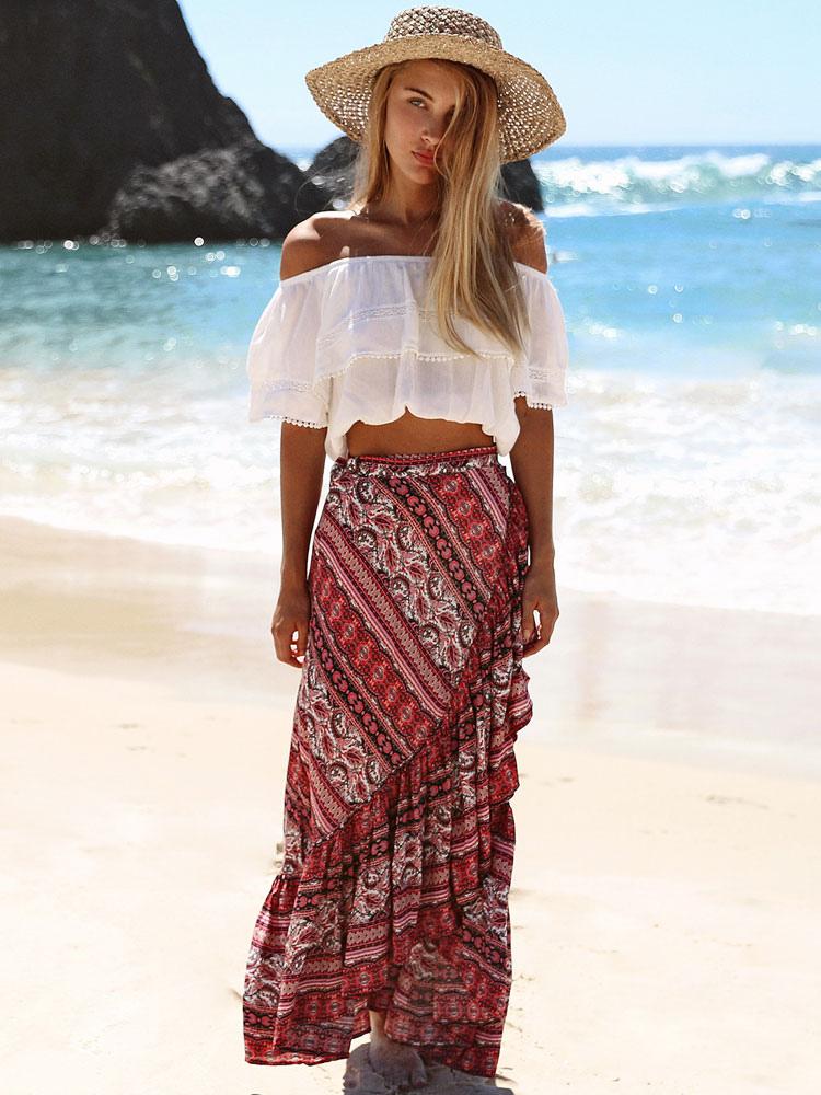 Boho Maxi Skirt Ruffles Print Slit Asymmetrical Brick Red Wrap Skirt