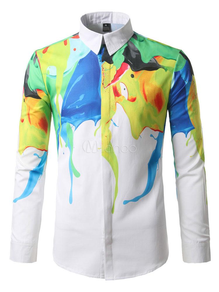 White Casual Shirt Turndown Collar Long Sleeve Printed Men's Shirts