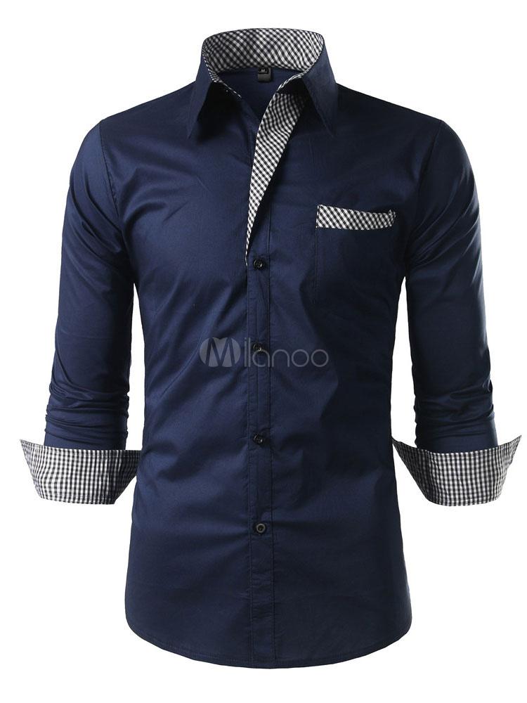 Men Dress Shirt Navy Blue Turndown Collar Long Sleeve Shirt Cotton