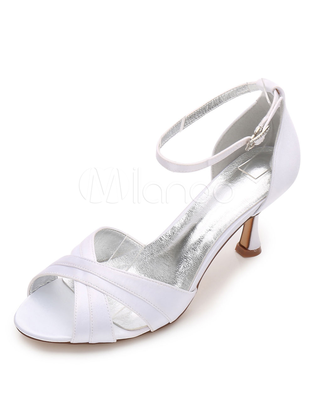 White Wedding Shoes Open Toe Criss Cross Ankle Strap Bridal Sandals For Women