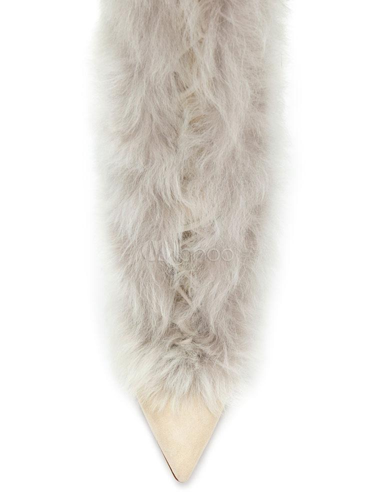 Botas a la rodilla de cuero auténtico de blanco crudo Artísticas de piel sintética estilo moderno kYeh5akC2