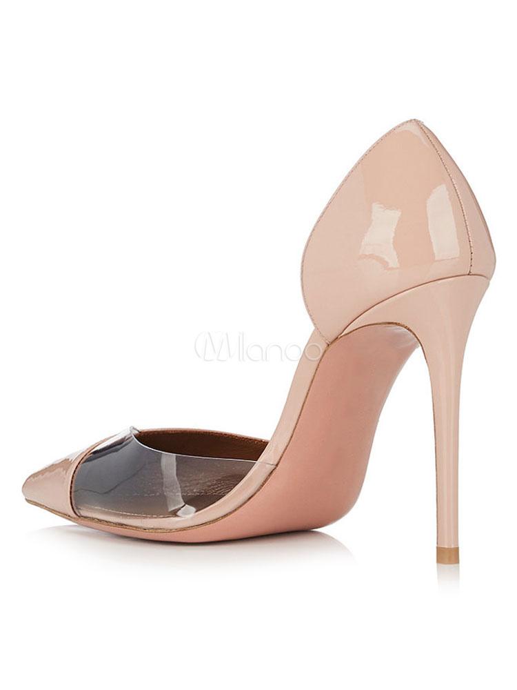 Zapatos de tacón de puntera puntiaguada de PU de color nude de patente de tacón de stiletto u8aB4IYG2