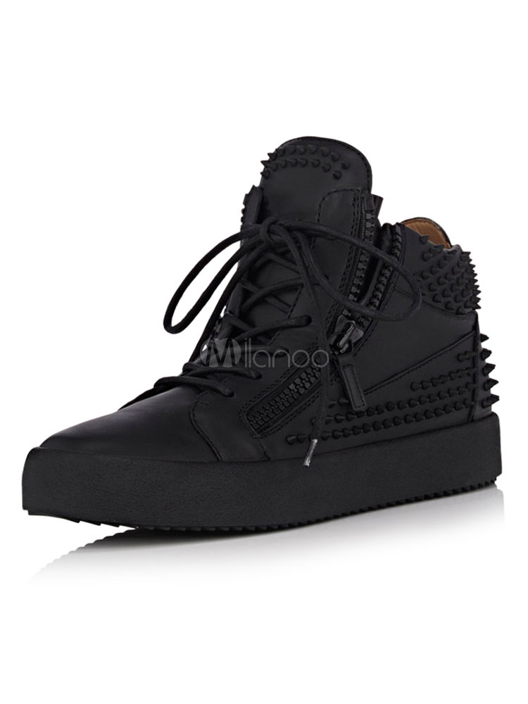 Buy Men's Black Sneakers Round Toe Rivets Lace Up Detail High Top Skate Shoes for $73.49 in Milanoo store