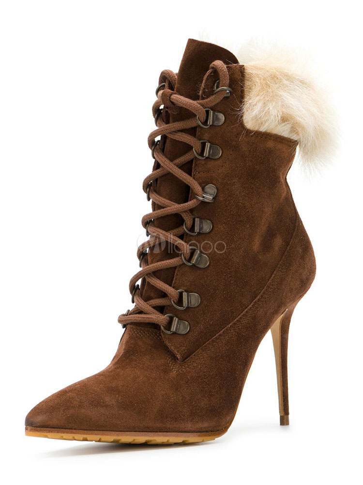 5175abfbcf21 High Heel Booties Brown Pointed Toe Lace Up Faux Fur Stiletto Leather Boots  For Women- ...