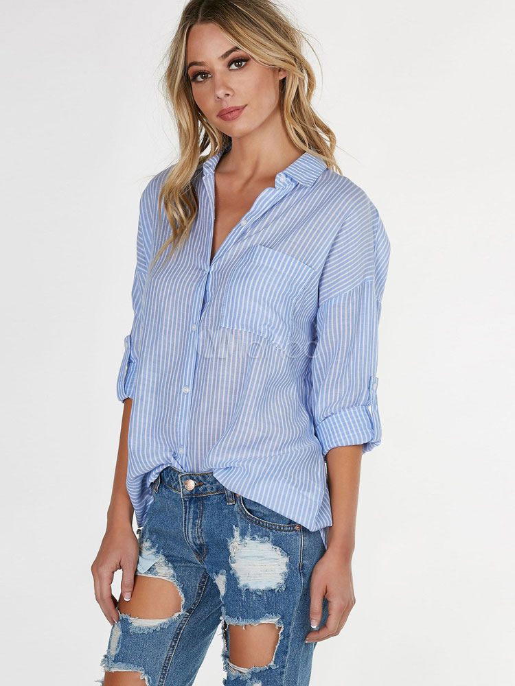 Buy Women's Blue Blouses Turndown Collar Half Sleeve Striped Casual Top With Pockets for $18.89 in Milanoo store