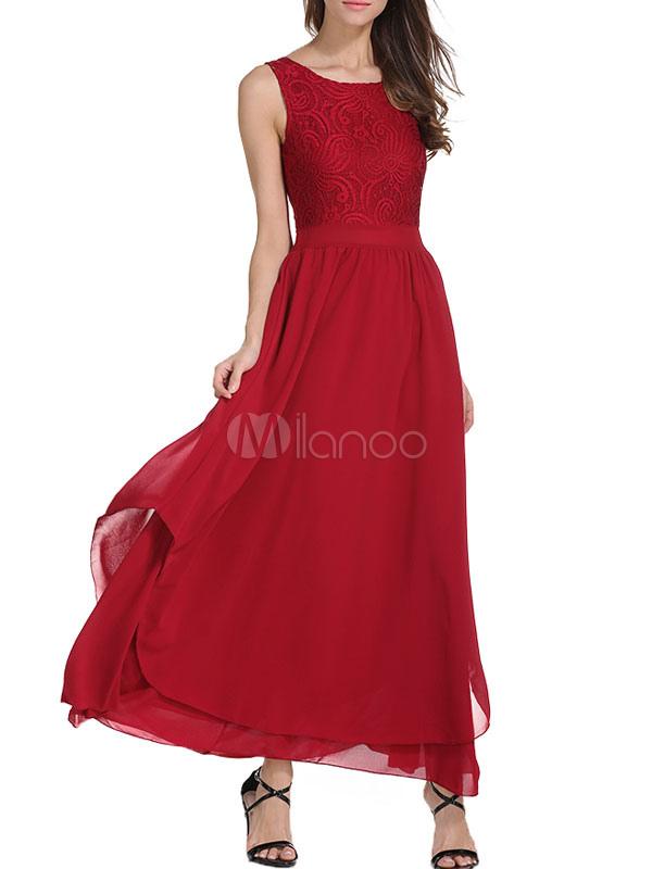 Burgundy Chiffon Dress Lace Round Neck Sleeveless Pleated Layered Women's Long Dress