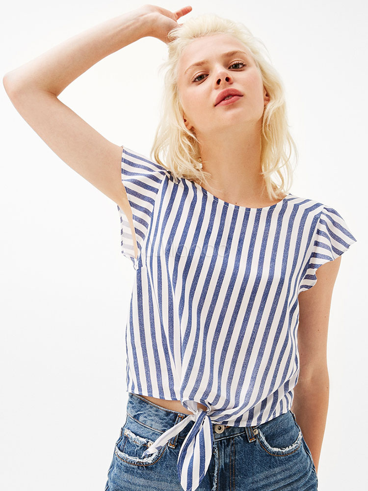 Blue Women's Blouses Round Neck Short Sleeve Striped Casual Top