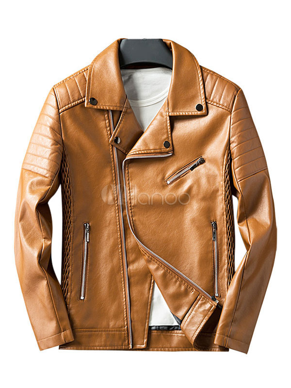 Men's Leather Jacket Brown Turndown Collar Long Sleeve PU Casual Jacket
