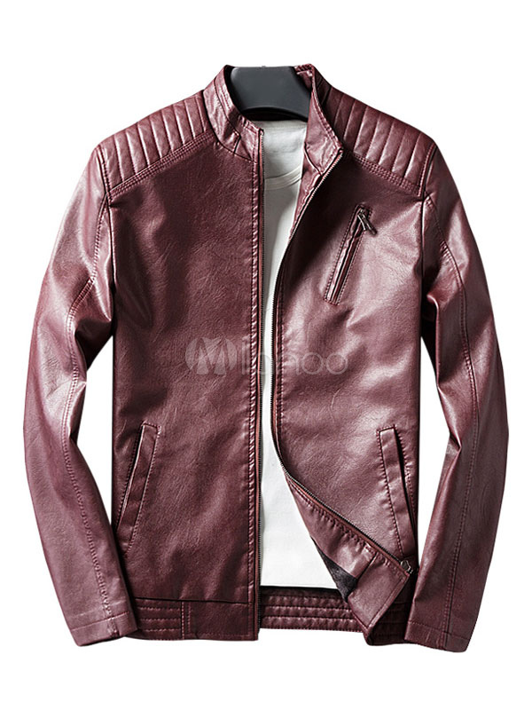Burgundy Leather Jacket Stand Collar Long Sleeve PU Men's Casual Jacket