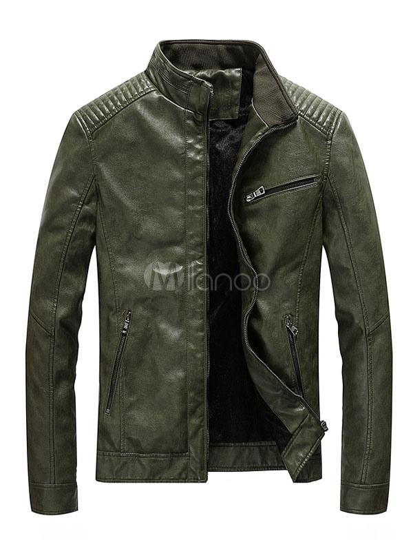 Blazer homme marron 2018 cuir veste col montant zip court - Blazer homme marron ...