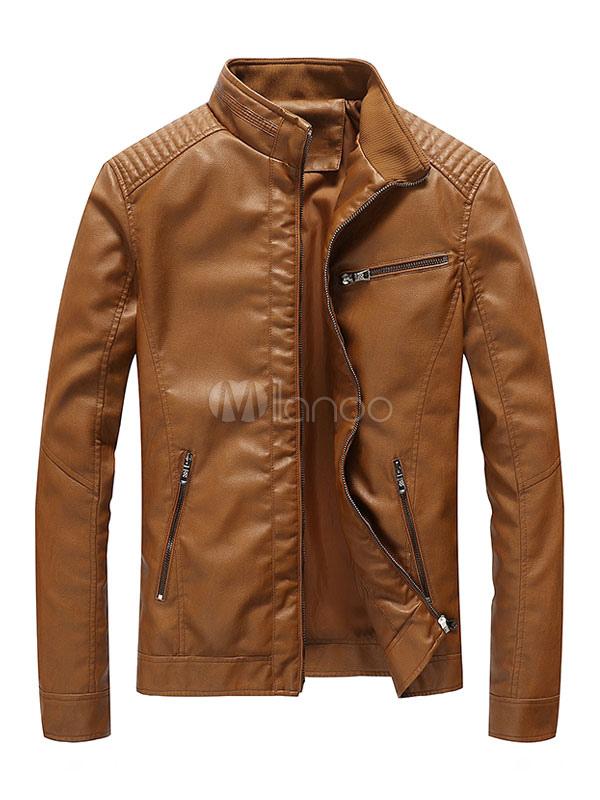 Brown Leather Jacket Stand Collar Zip Up Men Short Jacket