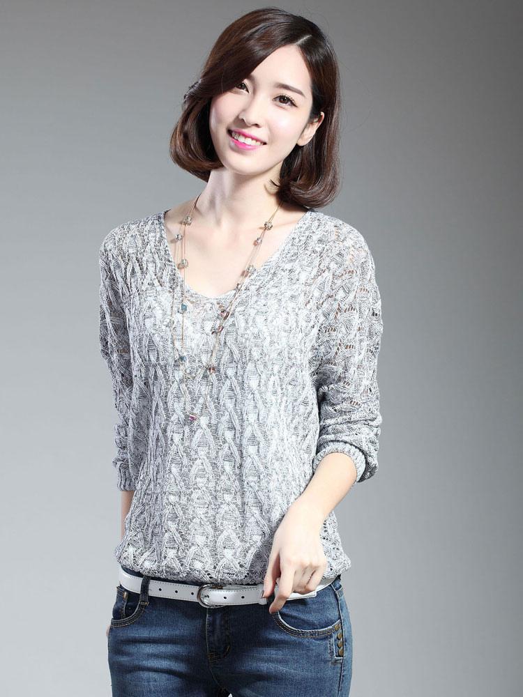 Light Grey Sweater V Neck Long Sleeve Women's Pullover Sweater