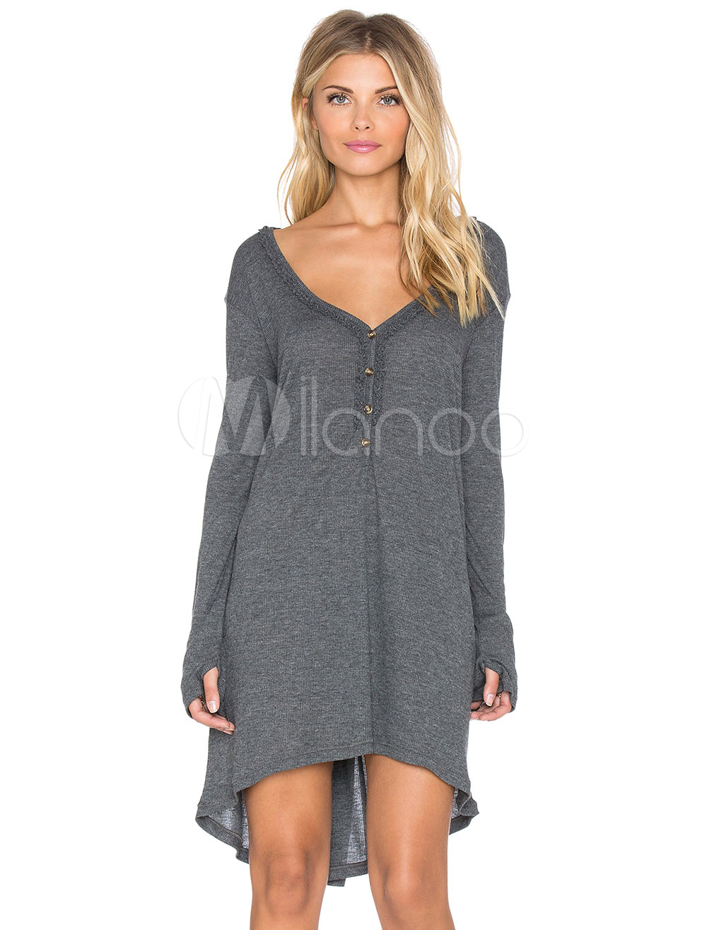 Buy Grey Women Dress V Neck Long Sleeve High Low Casual Dress for $26.99 in Milanoo store