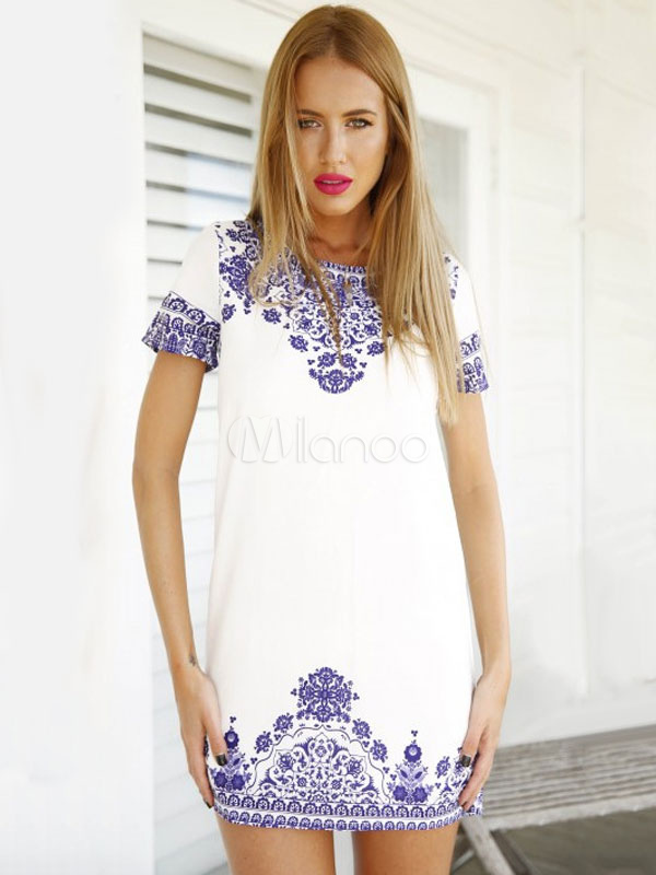 Buy White Shift Dress Ethnic Print Round Neck Short Sleeve Mini Short Summer Dress for $29.99 in Milanoo store