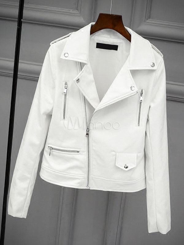 1ab857a9309 Белая куртка Moto Turndown Воротник с длинным рукавом Женская кожаная куртка  Boyfriend-No.1 ...