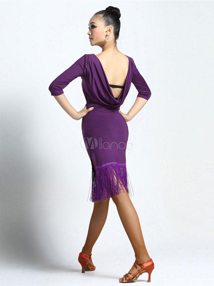 Traje de baile latino Color liso Actuación fibra de poliéster de ...