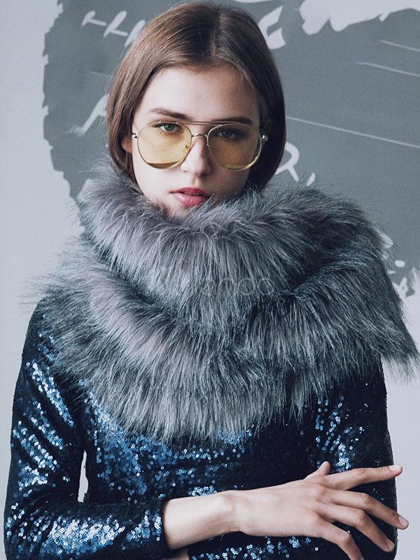 Grey Faux Fur Scarf For Women