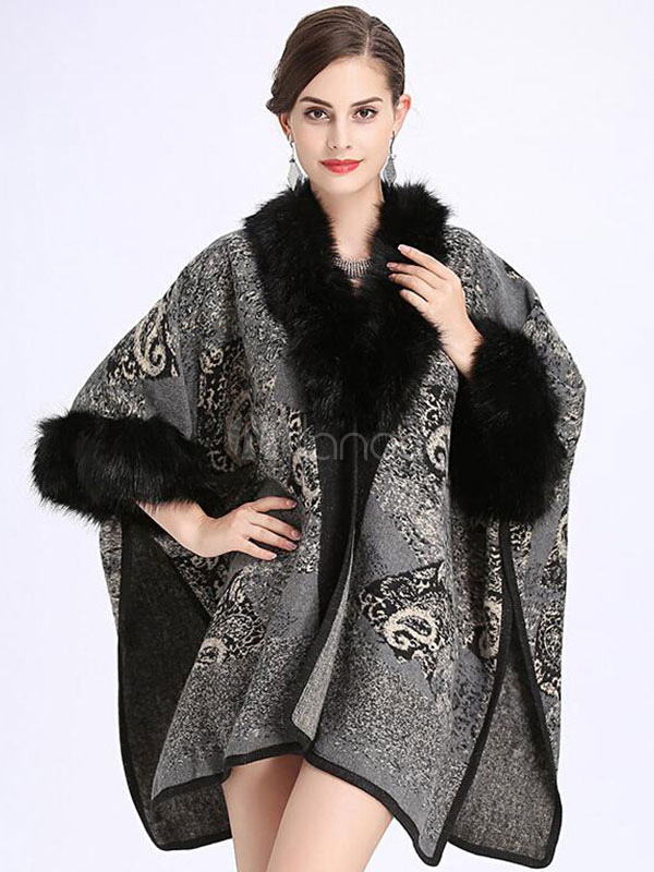 Buy Grey Cape Coat Faux Fur V Neck Half Sleeve Women's Winter Coat for $44.99 in Milanoo store