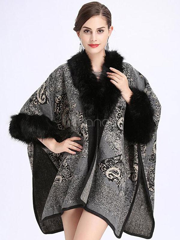 Buy Grey Cape Coat Faux Fur V Neck Half Sleeve Women's Winter Coat for $44.99 in Milanoo store