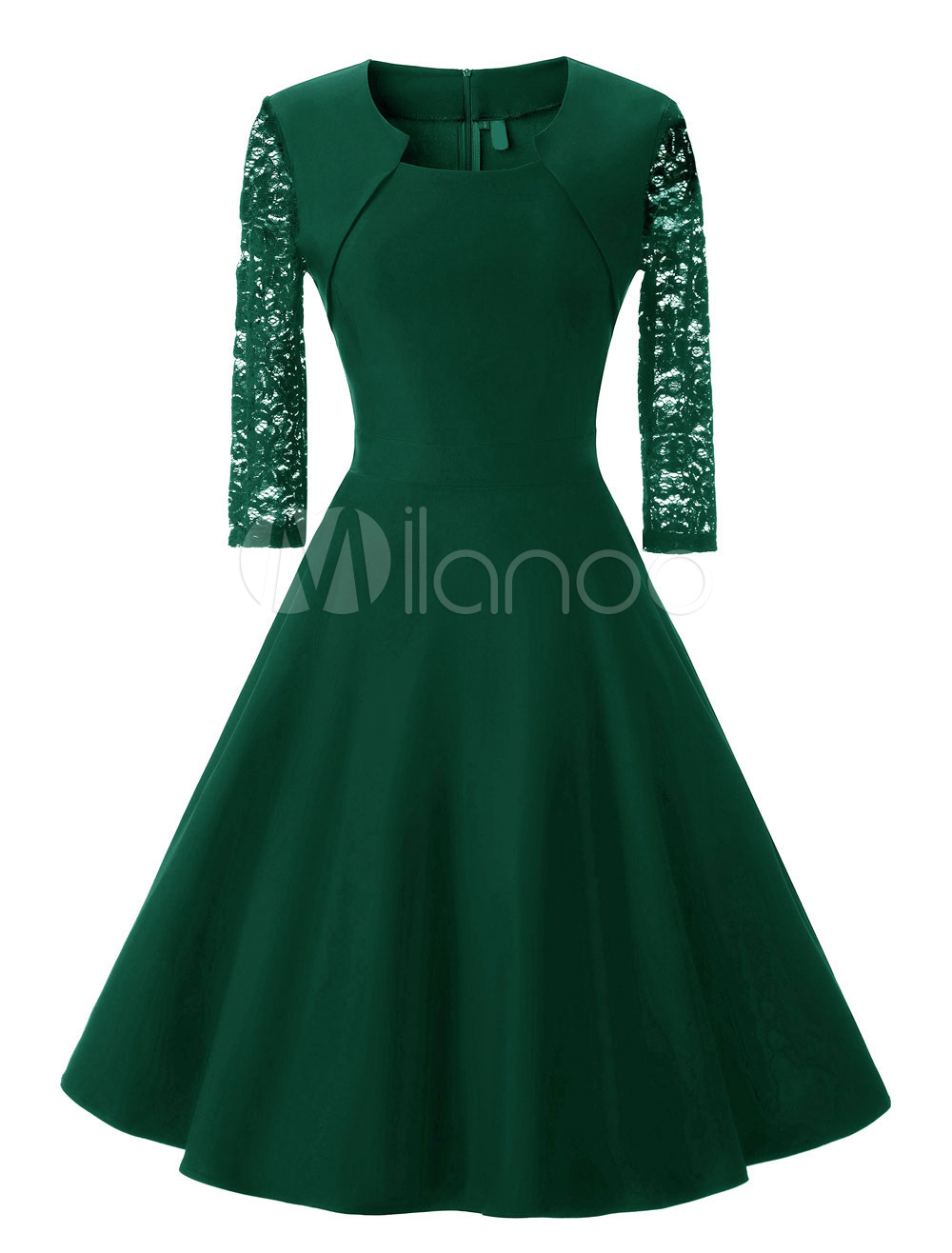 Green Vintage Dress Lace Semi Sheer 3/4 Length Sleeve Pleated Dresses For Women