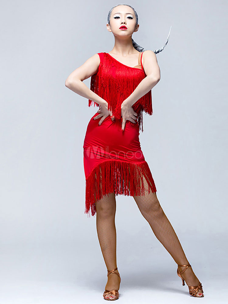 c9e0e87d1c1 Latin Dance Dress Red Fringe Sleeveless Asymmetrical Bodycon Dresses For  Women-No.1 ...
