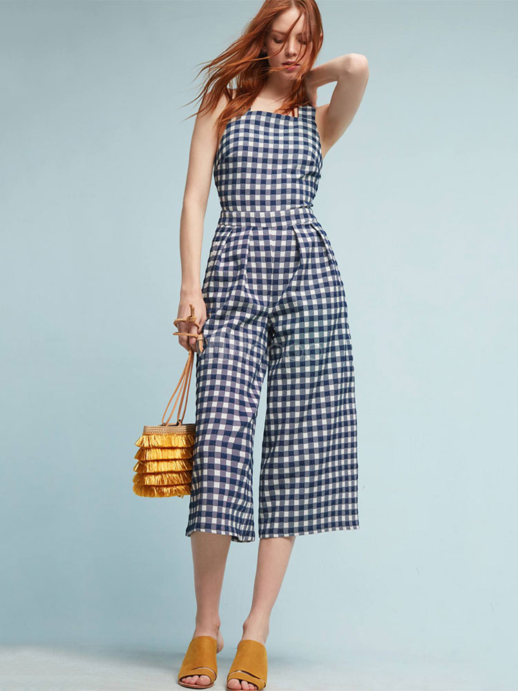 Buy Black Women's Jumpsuit Square Neck Sleeveless Cross Back Plaid Long Jumpsuit for $23.74 in Milanoo store