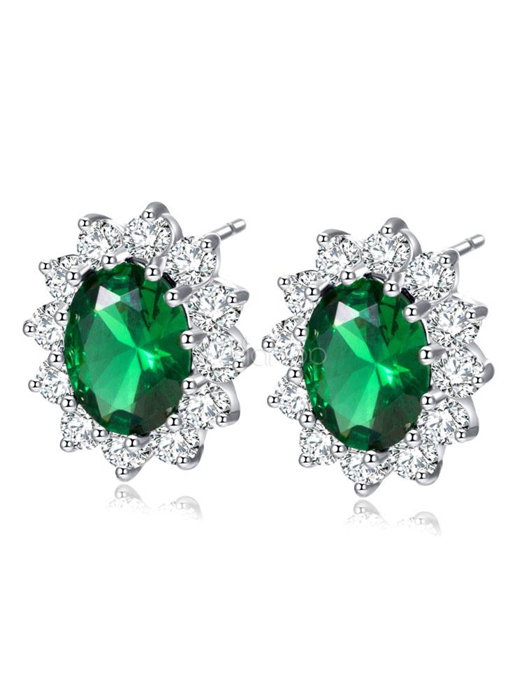 Green Ear Stud Women's Luxurious Rhinestones Cubic Zirconia Jeweled Alloy Pierced Earrings