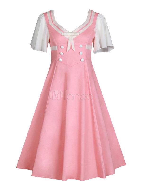 Women Vintage Dress Retro Dress Pink V Neck Short Sleeve Skater Dress