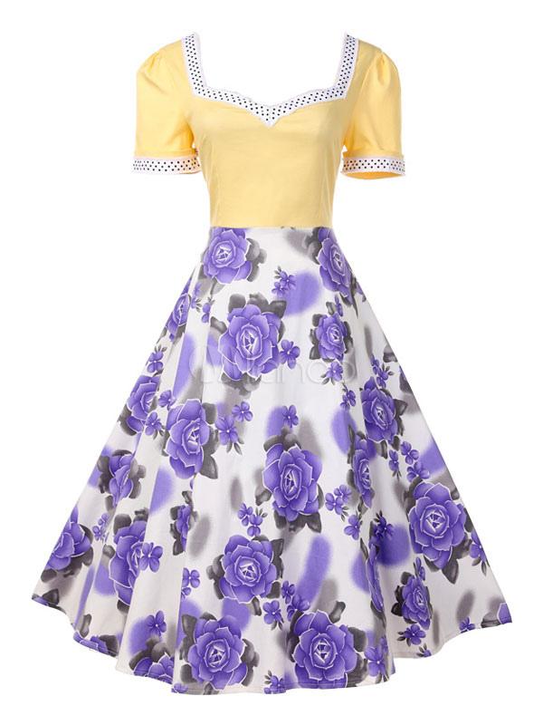 Buy Yellow Vintage Dress V Neck Short Sleeve Floral Print Women's Retro Dresses for $31.49 in Milanoo store