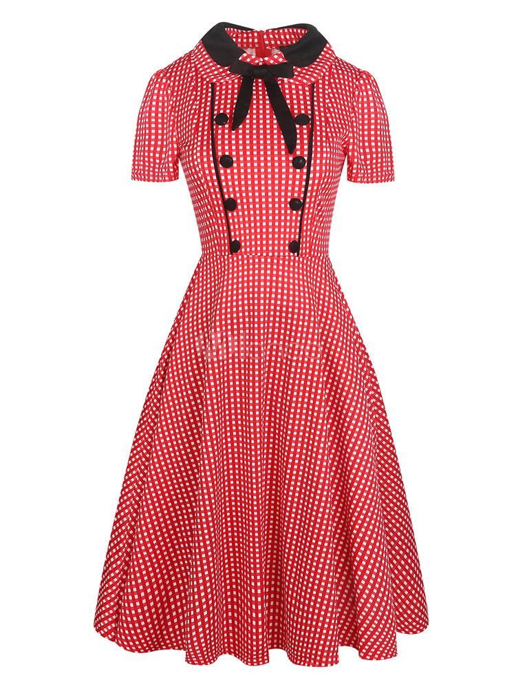 Red Vintage Dress 1950s Plaid Short Sleeve Bowknot Buttons Pleated Women's Retro Flare Dress