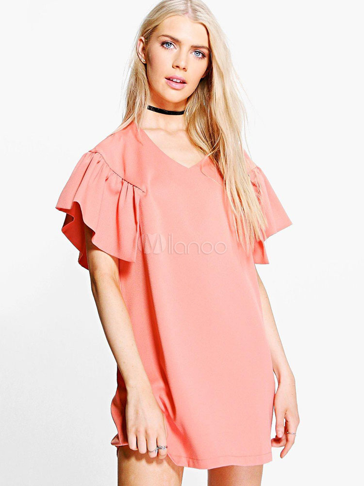 Buy Pink Shift Dress V Neck Short Sleeve Ruffles Women's Summer Short Dresses for $18.99 in Milanoo store