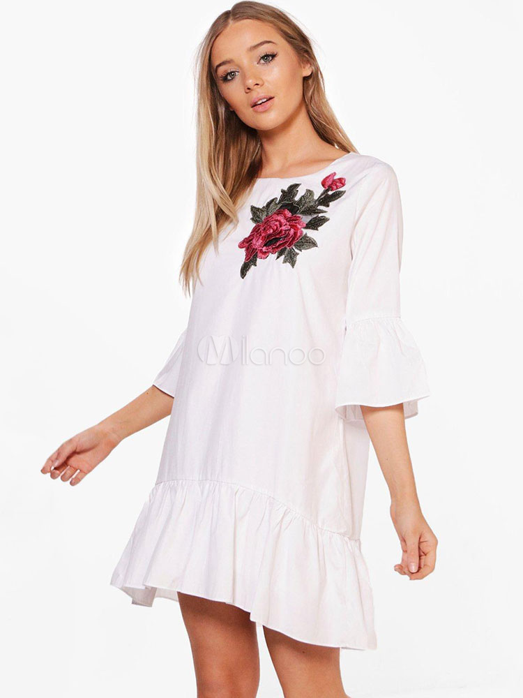 Buy White Shift Dress Round Neck Half Sleeve Ruffles Peony Embroidered Women's Summer Dresses for $26.99 in Milanoo store