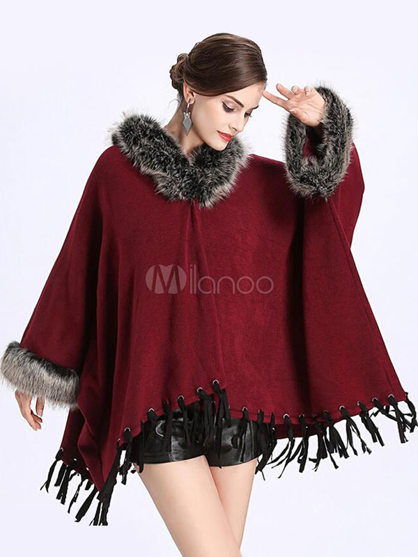 Buy Burgundy Cape Coat Faux Fur Hooded Long Sleeve Fringe Women's Winter Coat for $59.99 in Milanoo store
