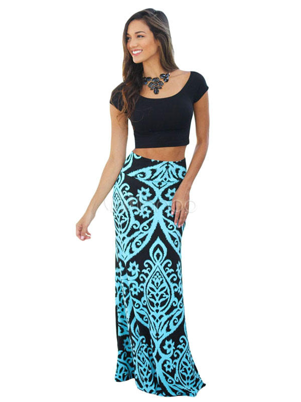 Buy Blue Long Skirt Boho Printed Women's Summer Skirt for $18.99 in Milanoo store
