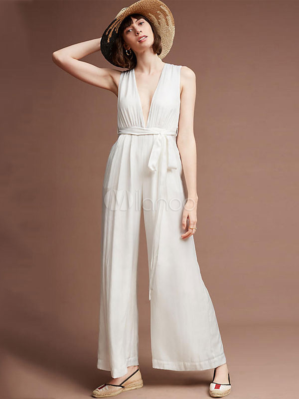 Buy White Summer Jumpsuit Plunging Neck Sleeveless Wide Leg Women's Long Jumpsuit for $23.74 in Milanoo store