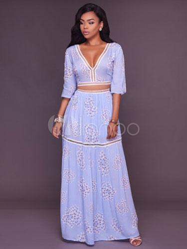 Women's Skirt Set Women's Light Blue Chiffon V Neck Cut Out Half Sleeve Top With Long Skirt