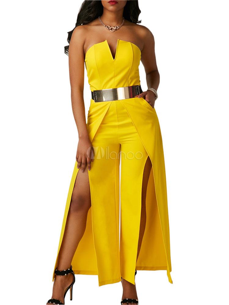 Buy Yellow Long Jumpsuit Strapless Sleeveless Split Wide Leg Jumpsuit For Women for $27.59 in Milanoo store