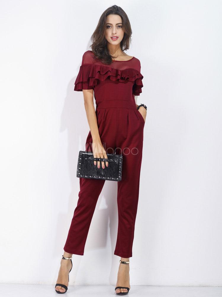 Burgundy Long Jumpsuit Round Neck Short Sleeve Ruffles Straight Leg Long Jumpsuit For Women