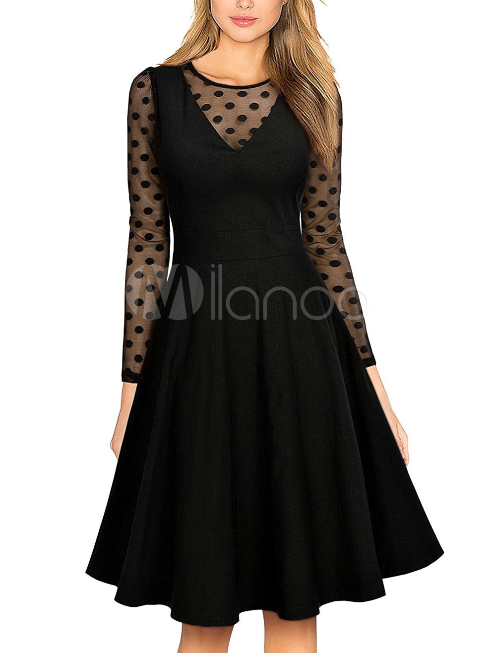 c83d3ed0a97 ... Black Vintage Dress Round Neck Long Sleeve Semi Sheer Polka Dot Print Pleated  Dresses For Women ...