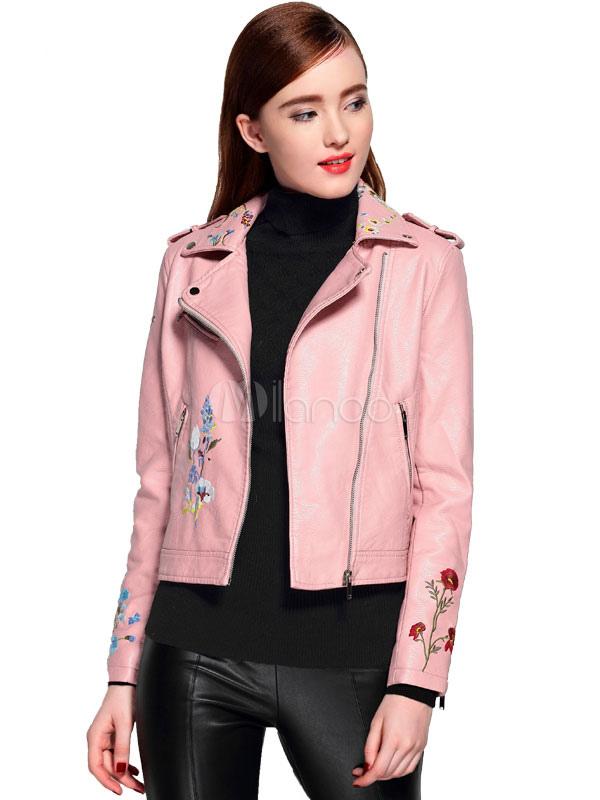 Pink Leather Jacket Women Turndown Collar Long Sleeve Moto Jacket